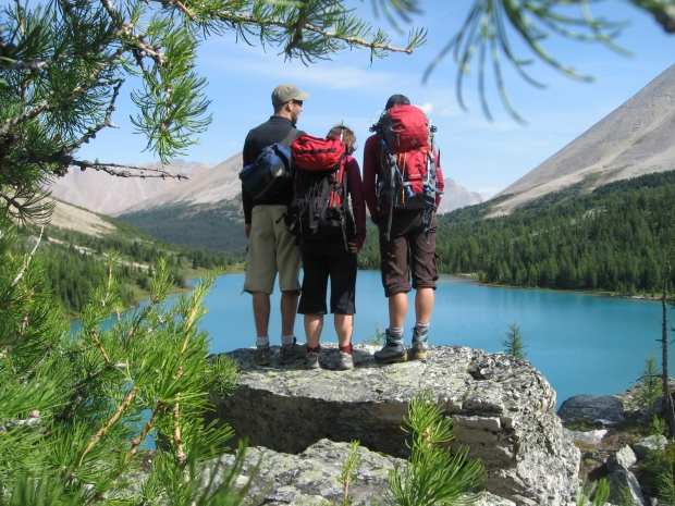 My friends and me looking out over Myosotis Lake in the Skoki Region. (Photo from Meghan J. Ward collection)