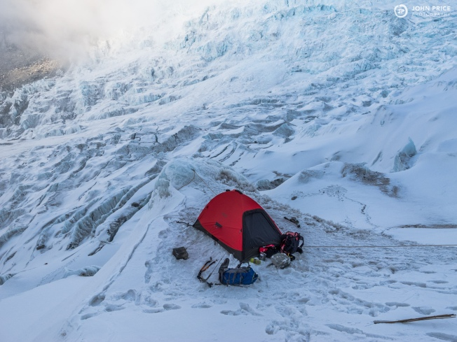 Camp 2 at 5400m in the icefall of Anidesha Chuli. Photo by John Price.