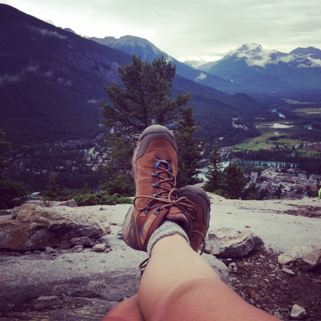 The TrekSta Women's Alta GTX at the top of Tunnel Mountain in Banff. Photo Meghan J. Ward.